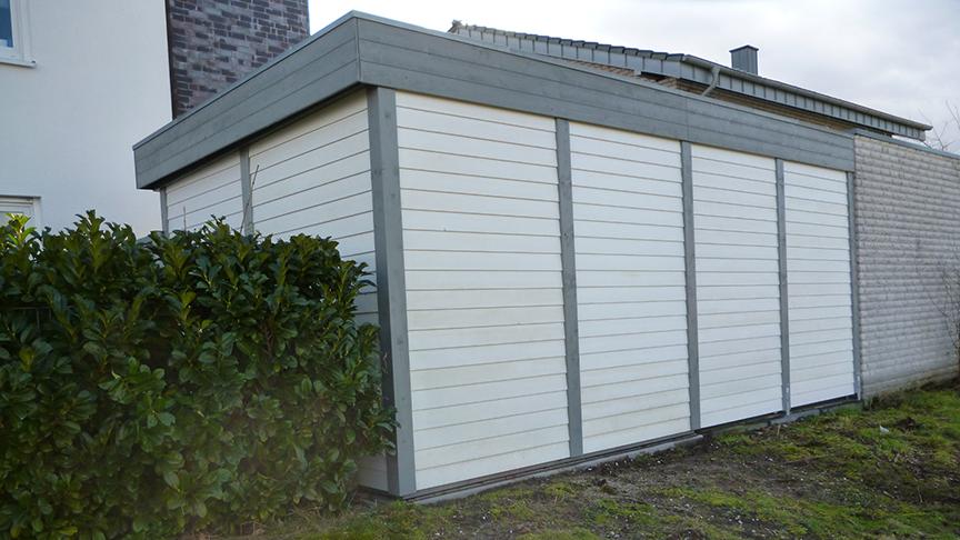carport grau wei mit wandverkleidung und tr 1