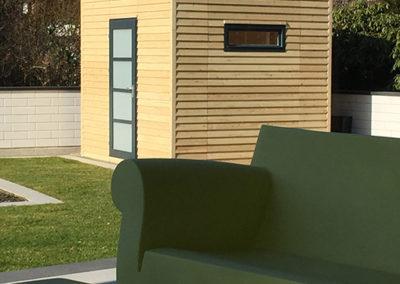 Gartenhaus CUBO ohne Dachüberstand mit Wandverkleidung Lärche
