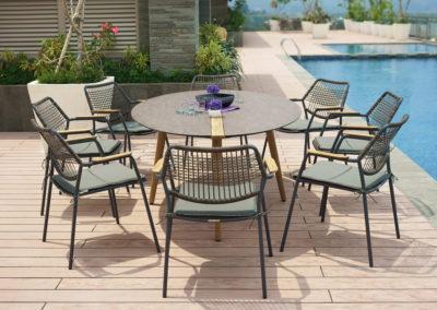 CS Aluminium Sitzgruppe mit HPL Tischplatte