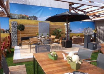 Ausstellung Gartenzaun und Gartenmöbel