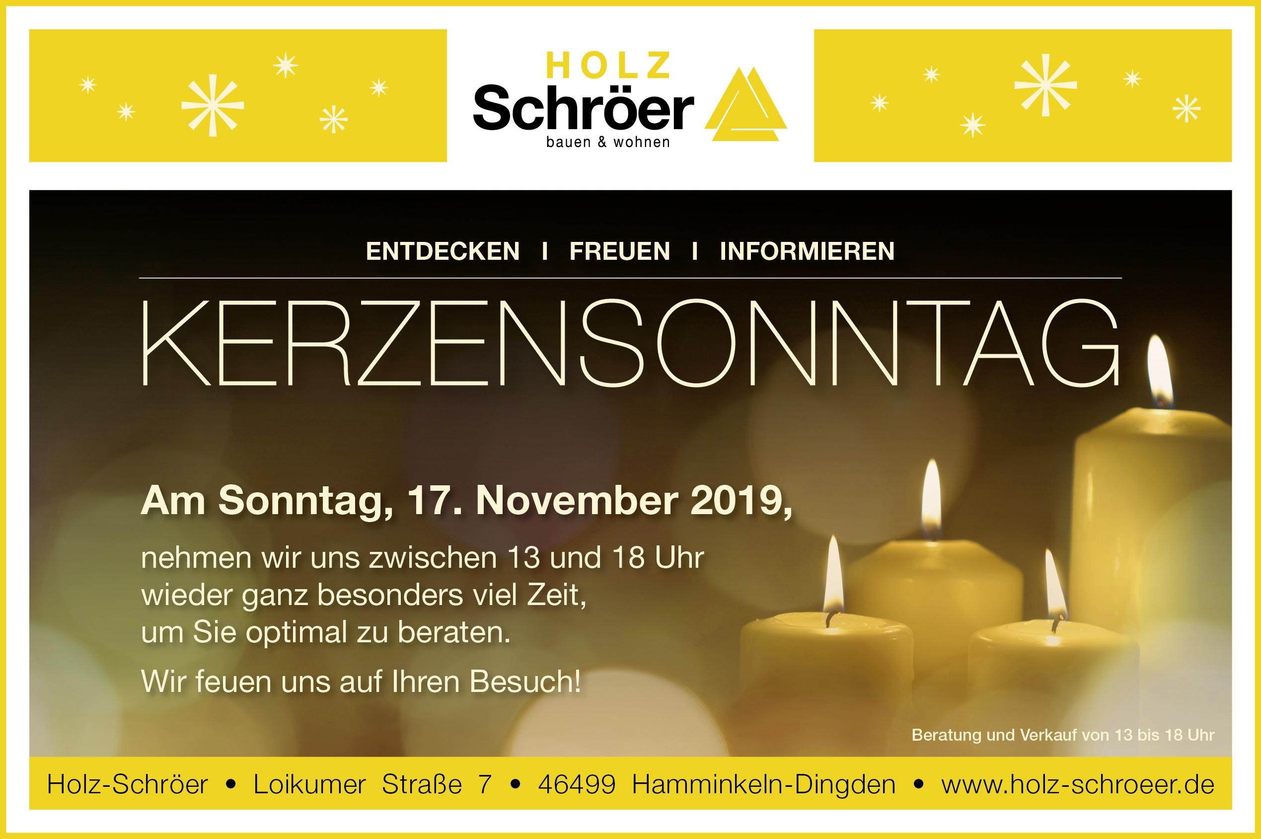 Kerzensonntag am 17.11.2019 in Dingden – Holz-Schröer Holzfachmarkt